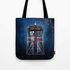 Tardis doctor who with Union jack paint  Tote Bag