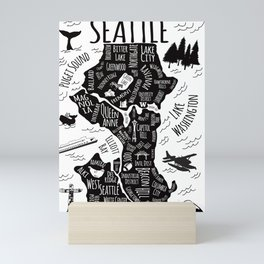 Seattle Illustrated Map in Black and White - Single Print Mini Art Print