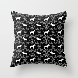 Bull Terrier floral silhouette dog breed pet friendly dog gifts bull terriers Throw Pillow
