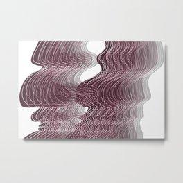 Multiplied Parallel Waves Lines White Lines in Pastel Purple No.: 02 Metal Print