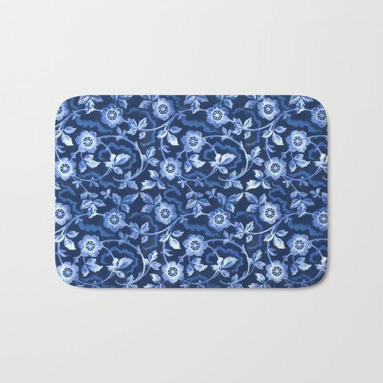 Blue floral pattern Bath Mat