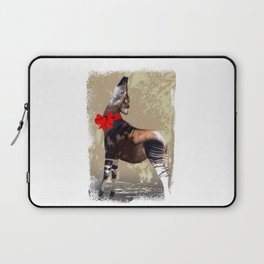 Okapi  with Red Bow Laptop Sleeve