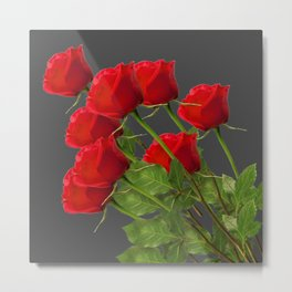 BOUQUET OF  RED LONG STEM ROSES  DESIGN Metal Print