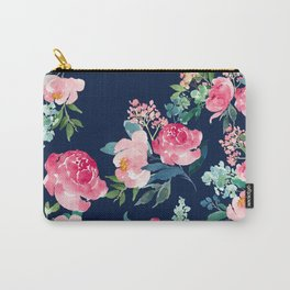Navy and Pink Watercolor Peony Carry-All Pouch
