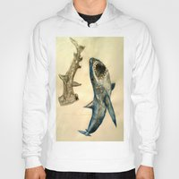sharks Hoodies featuring Sharks by Jen Hallbrown