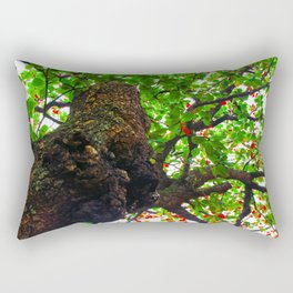big tree with green leaves and red leaves Rectangular Pillow