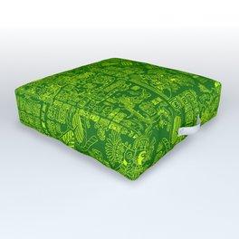 Mayan Spring GREEN / Ancient Mayan hieroglyphics mandala pattern Outdoor Floor Cushion