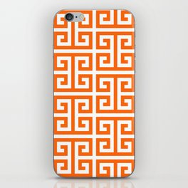 Orange and White Greek Key Pattern iPhone Skin