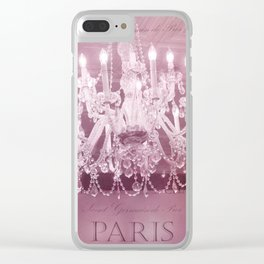 Paris Pink White Sparkling Crystal Chandelier Wall Art and Home Decor Clear iPhone Case