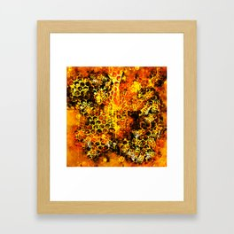 bees fill honeycombs in hive splatter watercolor Framed Art Print