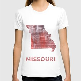 Missouri map outline Striped red watercolor design T-shirt
