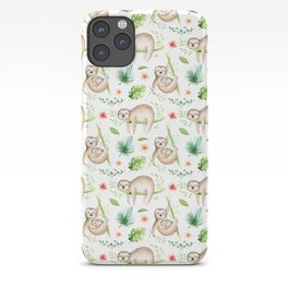 Modern hand painted green brown watercolor tropical floral sloth iPhone Case