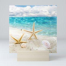 seashell and sea Mini Art Print