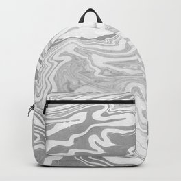 Abstract Grey Marbling Pattern Backpack