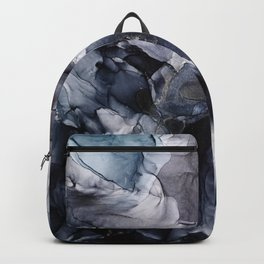 Dark Moody Chaos and Blue Abstract Painting Backpack