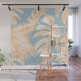 Tropical Leaves Citrus on Ocean Blue Wall Mural