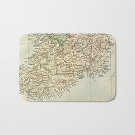 Vintage and Retro Map of Southern Ireland Bath Mat