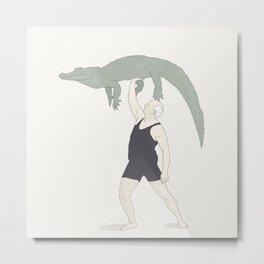 Hans Lifts an Alligator Metal Print