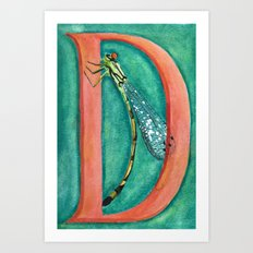D is for Damselfly Art Print