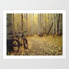 Golden Aspen Mountain Biking Art Print