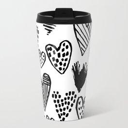 Hearts black and white hand drawn minimal love valentines day pattern gifts decor Travel Mug