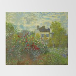 Claude Monet Impressionist Landscape Oil Painting A Corner of the Garden with Dahliass Throw Blanket