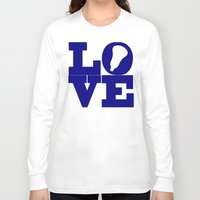 lacrosse Long Sleeve T-shirts featuring Lacrosse Love Navy Blue by YouGotThat.com