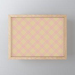 Beige and pink plaid Framed Mini Art Print
