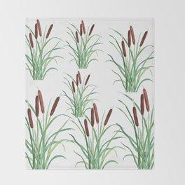 cattails plant Throw Blanket