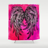 angel wings Shower Curtains featuring Pink Galaxy Angel Wings by Mad Love