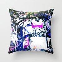 bathroom Throw Pillows featuring Bathroom Graffiti by Bendey