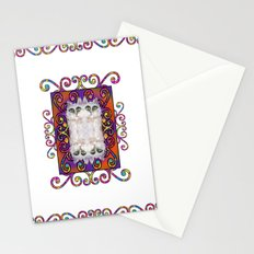 CAT DAMASK ARABESQUE WHITE Stationery Cards