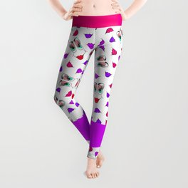 Funny Girly Pink Red Smiley Face and Lips Pattern Leggings