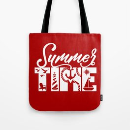 Summer TIME Nautical Solid Red, Seagull, Lounge Chair, Lighthouse, Anchor, Rope, Compass, Sail Boat Tote Bag