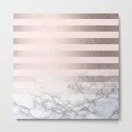 Rose Gold Pink Stripes and Marble Design Metal Print