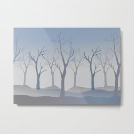 Silhouettes of Trees. Bad Weather Day Metal Print