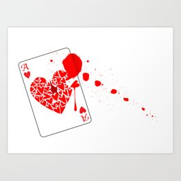 Ace of Hearts With Blood Art Print