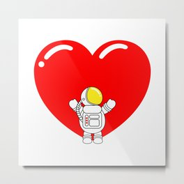 Astro Heart | Love is All Around | Astronaut Hug Love | pulps of Metal Print
