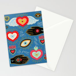 Milagro love hearts - blue Stationery Cards