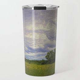 Storm rolling over small farm Travel Mug