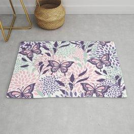 Floral, Butterflies Prints, Purple, Pink, Aqua Rug