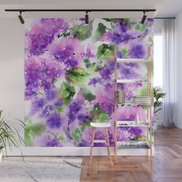 Lilac flowers. Watercolor lilac blossom. Violet florals. Wall Mural