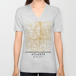 ATLANTA GEORGIA CITY STREET MAP ART Unisex V-Neck