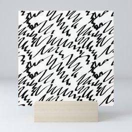 Scribble pattern black and white Mini Art Print