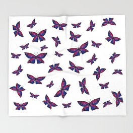 Fly With Pride: Bisexual Flag Butterfly Throw Blanket