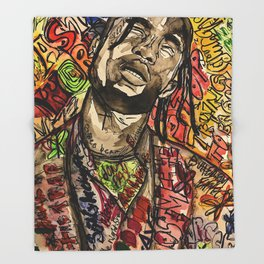 La flame,music,hiphop,poster,astro world,tour,wall art,artwork,painting,colourful Throw Blanket