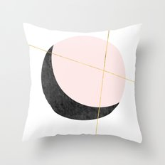 Pink Moon, Contemplation, Full Moon, Faux Gold Lines, Pink Black White Throw Pillow