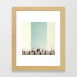 Pink flowers on the white rooftop Framed Art Print