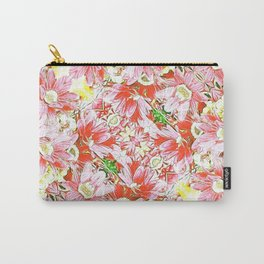 K-196 Abstract Pink Flowers Carry-All Pouch