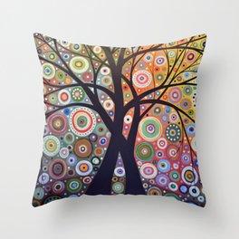 Abstract Art Landscape Original Painting ... Magic Garden Throw Pillow